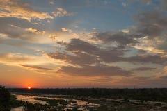 Coucher du soleil africain magnifique Image libre de droits