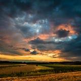 Coucher du soleil agricole Photos libres de droits