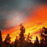 Coucher du soleil AhBlaze Photos libres de droits