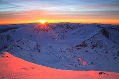 Coucher du soleil alpestre Image stock