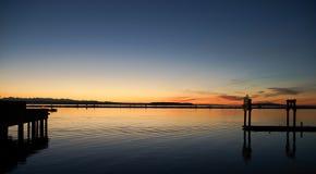 Coucher du soleil ambre Photo stock