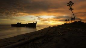Coucher du soleil ardent StLucia Images libres de droits