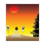 Coucher du soleil asiatique Photos stock