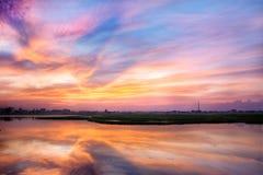 Coucher du soleil asiatique spectaculaire Image libre de droits