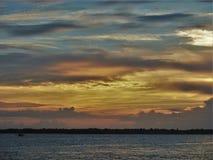 Coucher du soleil atlantique de plage photographie stock