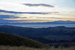 Coucher du soleil au bâti Kau Kau, Wellington, Nouvelle-Zélande Photos libres de droits