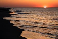 Coucher du soleil au bord de la mer de national de morue de cap Photographie stock libre de droits