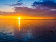 Coucher du soleil au brise-lames d'Ogden Point, Victoria AVANT JÉSUS CHRIST Image libre de droits