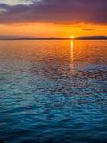 Coucher du soleil au brise-lames d'Ogden Point, Victoria AVANT JÉSUS CHRIST Photographie stock libre de droits