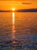 Coucher du soleil au brise-lames d'Ogden Point, Victoria AVANT JÉSUS CHRIST Images libres de droits