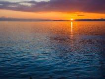 Coucher du soleil au brise-lames d'Ogden Point, Victoria AVANT JÉSUS CHRIST Photographie stock