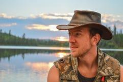 Coucher du soleil au camp Photo stock