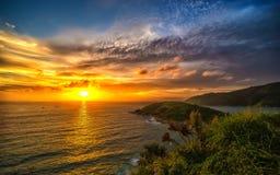 Coucher du soleil au cap de Promthep photographie stock