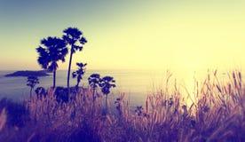 Coucher du soleil au cap de Promthep, Phuket Photo libre de droits