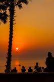 Coucher du soleil au cap Phuket Thaïlande de Promthep Photographie stock