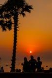 Coucher du soleil au cap Phuket Thaïlande de Promthep Photographie stock libre de droits