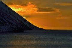 Coucher du soleil au cap Pusina Image libre de droits