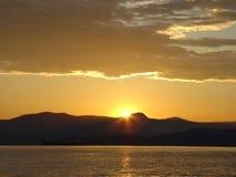 Coucher du soleil au compartiment anglais Photo libre de droits