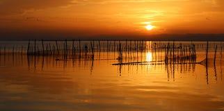 Coucher du soleil au ` d'Albufera De Valence de ` avec des oiseaux Photo stock