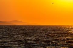 Coucher du soleil au-dessus d'île d'Ugljan images libres de droits