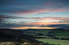 Coucher du soleil au-dessus d'Edlingham Photographie stock