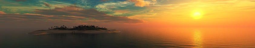 Coucher du soleil au-dessus d'une île tropicale Images libres de droits