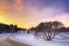 Coucher du soleil au-dessus d'une prairie de Midwest Photographie stock libre de droits