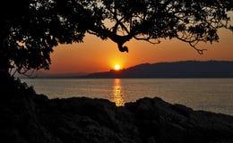 Coucher du soleil au-dessus de Cannes, silhouettant l'arbre et les roches, Juan Les Pins France Photographie stock