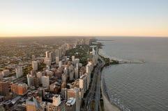 Coucher du soleil au-dessus de Chicago de la tour de Hancock, Chicago, l'Illinois, U Photo stock