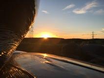 Coucher du soleil au-dessus de Cramlington Image stock