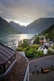 Coucher du soleil au-dessus de fjord de Geiranger Photos stock