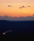 Coucher du soleil au-dessus de fleuve de Shenandoah Photos libres de droits