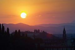 Coucher du soleil au-dessus de Florence Photographie stock