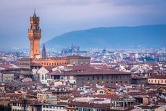 Coucher du soleil au-dessus de Florence Image stock