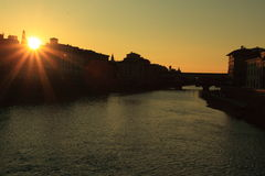 Coucher du soleil au-dessus de Florence Images libres de droits