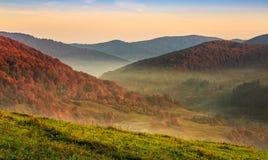 Coucher du soleil au-dessus de forêt d'automne en montagnes floues images stock