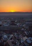 Coucher du soleil au-dessus de Fribourg, Allemagne Photo libre de droits