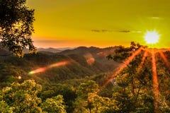 Coucher du soleil au-dessus de Great Smoky Mountains image stock