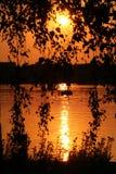 Coucher du soleil au-dessus de Hyde Park, Londres Image stock