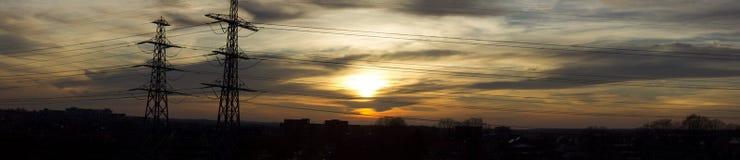 Coucher du soleil au-dessus de Kloosterveen (panorama) photos libres de droits