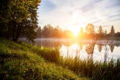 Coucher du soleil au-dessus de l'étang Images stock