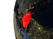 Coucher du soleil au-dessus de l'Afghanistan de l'espace Photographie stock libre de droits