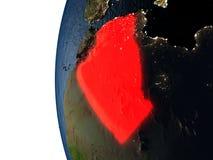 Coucher du soleil au-dessus de l'Algérie de l'espace Photo libre de droits
