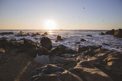 Coucher du soleil au-dessus de l'Océan Atlantique Images libres de droits