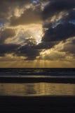 Coucher du soleil au-dessus de l'océan pacifique à San Diego Image libre de droits