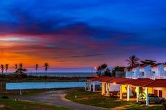 Coucher du soleil au-dessus de l'océan pacifique sur la péninsule d'Azuero au Panama Photographie stock libre de droits