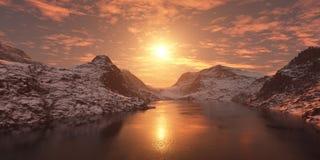 Coucher du soleil au-dessus de la baie de mer Photo stock