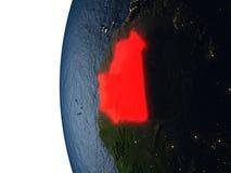 Coucher du soleil au-dessus de la Mauritanie de l'espace Image libre de droits