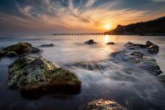Coucher du soleil au-dessus de la Mer Noire Photo stock
