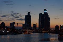 Coucher du soleil au-dessus de la Moscou-ville. Image stock